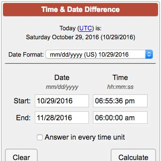 Time & Date Difference Calculator