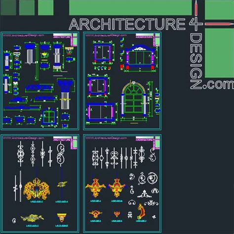 classical architecture style facades parts for Autocad