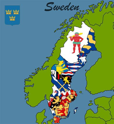 The 25 provinces of Sweden (without labels) by
